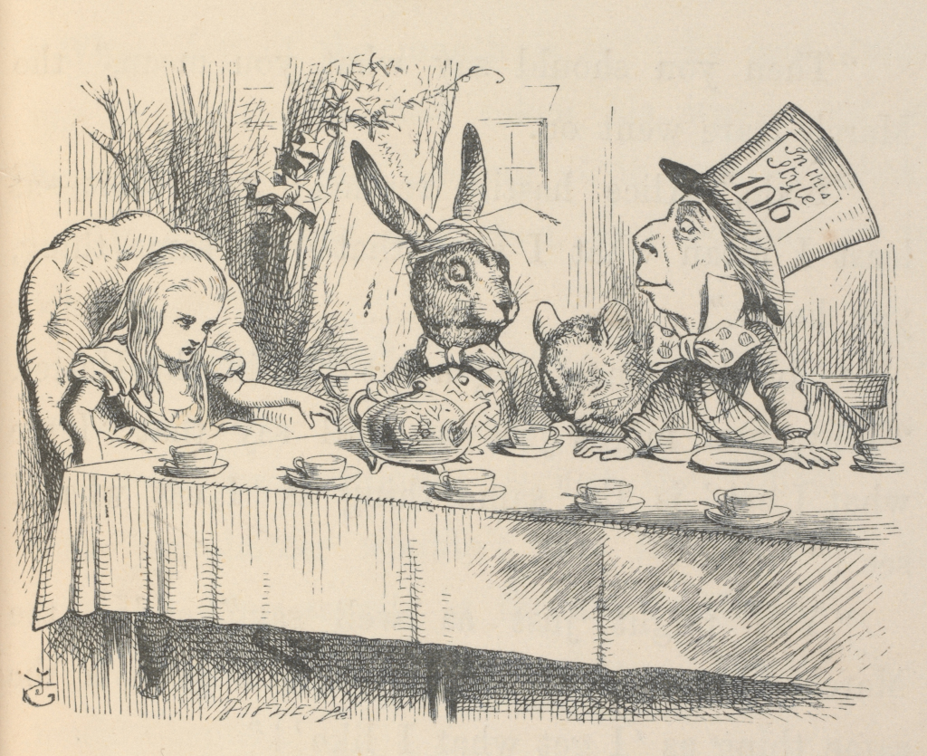 Alice: Curiouser and Curiouser Alice at the Mad Hatter's Tea Party, Illustration for Alice's Adventures in Wonderland by John Tenniel, 1865 (c) Victoria and Albert Museum, London