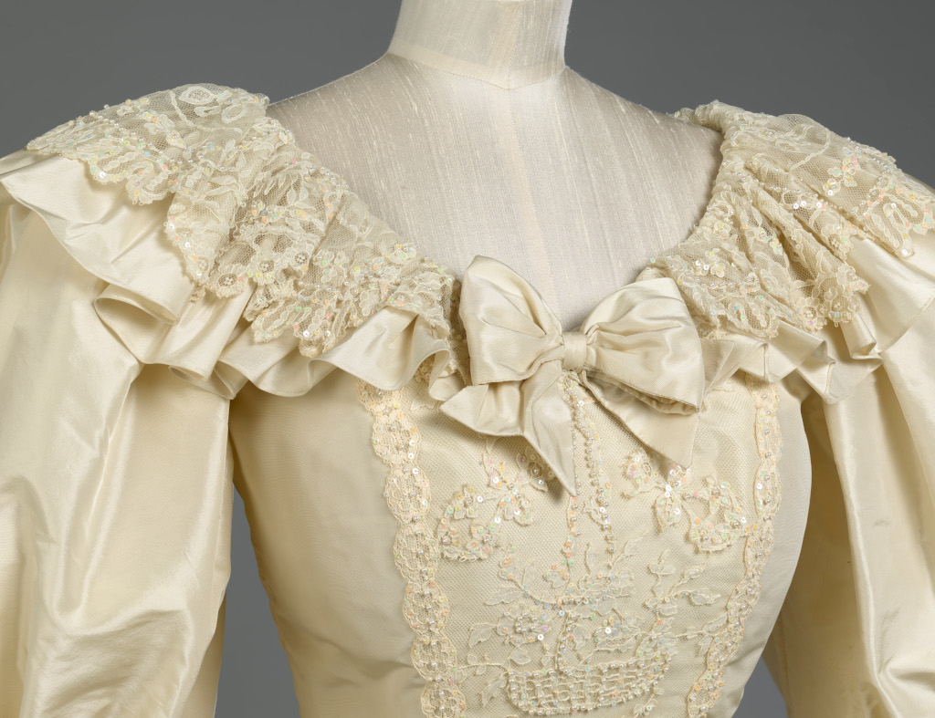 Wedding gown of Diana, Princess of Wales neckline c Royal Collection Trust