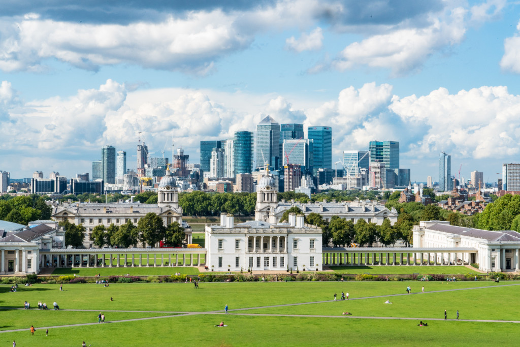 The view across London from Greenwich Park