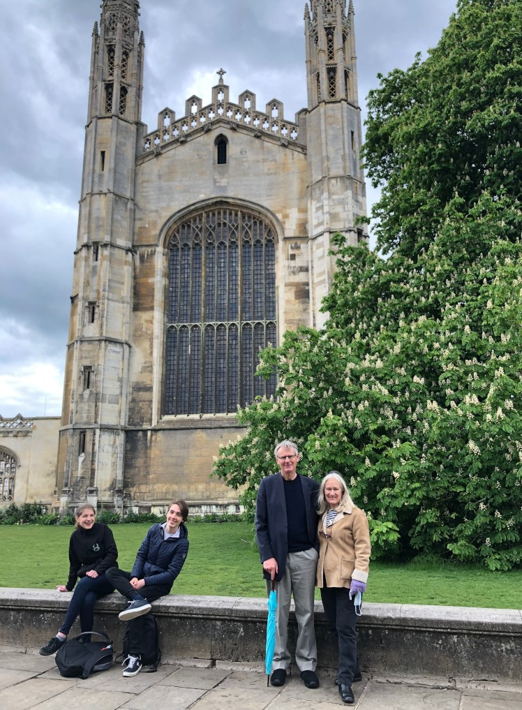 Roger and Eileen taking in the sites of Cambridge, and attracting a socially-distanced crowd