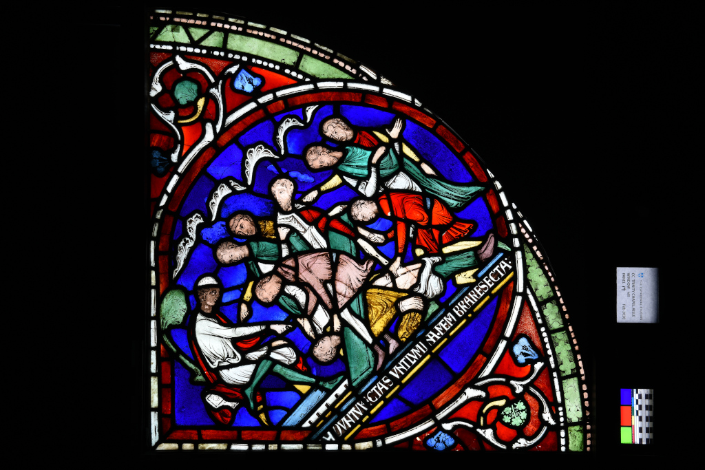 Detail showing the castration of Eilward of Westoning. Miracle window, Canterbury Cathedral, early 1200s. © The Chapter, Canterbury Cathedral
