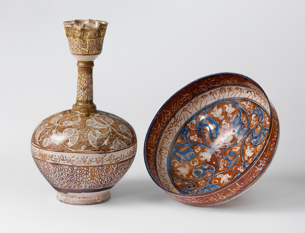 Bottle and bowl in poetry in Persian, 1180-1220 (c) Victoria and Albert Museum, London