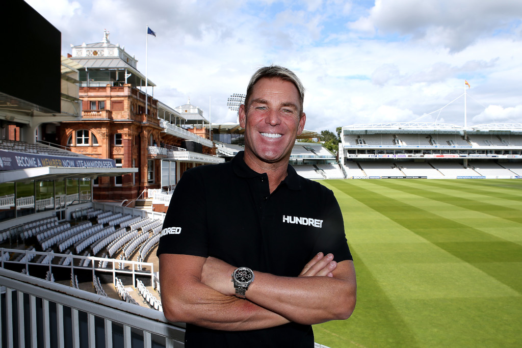 LONDON, ENGLAND - AUGUST 07: Former Australian spin bowler, Shane Warne is named as head coach of Lord's The Hundred team at Lord's Cricket Ground on August 07, 2019 in London, England. (Photo by Jack Thomas/Getty Images for The Hundred)