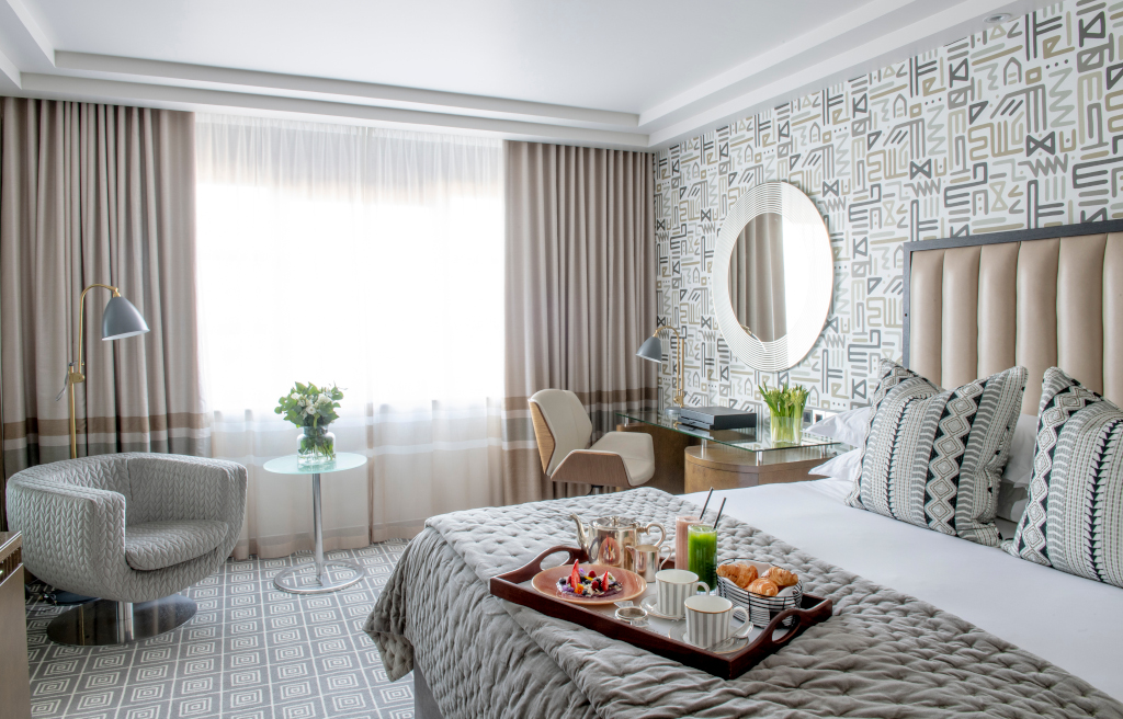 A deluxe room at The Marylebone Hotel
